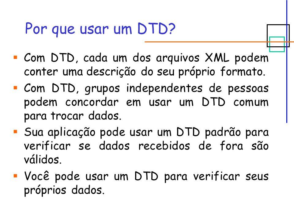 Elementos (1/3)  A declaração de um elemento em um DTD segue a seguinte sintaxe: ou  Elementos vazios: