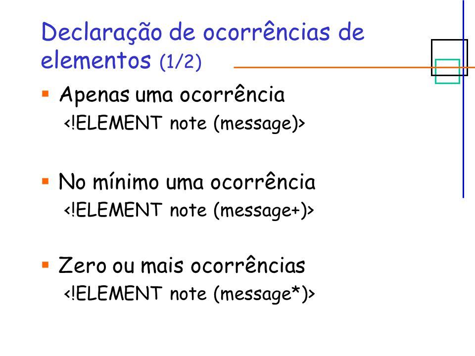 Declaração de ocorrências de elementos (1/2)  Apenas uma ocorrência  No mínimo uma ocorrência  Zero ou mais ocorrências