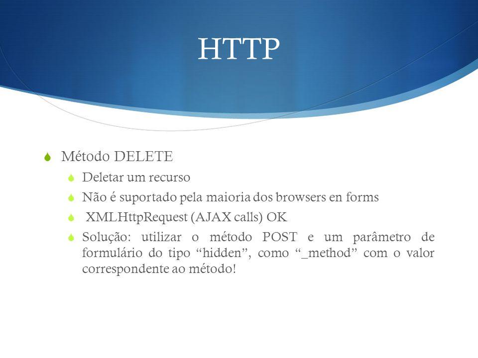 HTTP  Método DELETE  Deletar um recurso  Não é suportado pela maioria dos browsers en forms  XMLHttpRequest (AJAX calls) OK  Solução: utilizar o