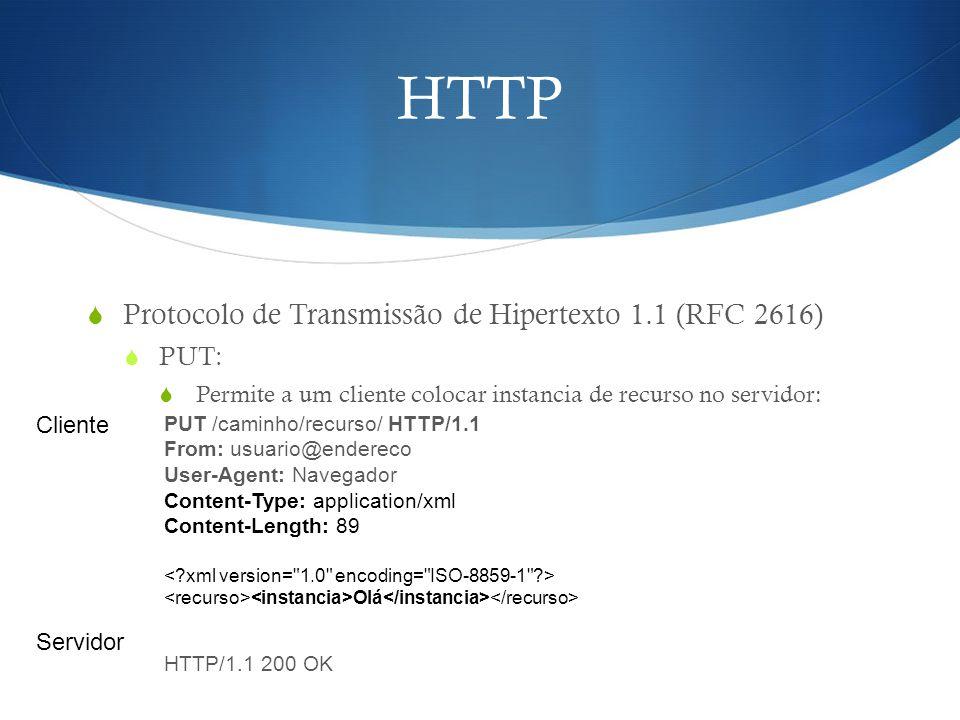 HTTP  Protocolo de Transmissão de Hipertexto 1.1 (RFC 2616)  PUT:  Permite a um cliente colocar instancia de recurso no servidor: PUT /caminho/recu