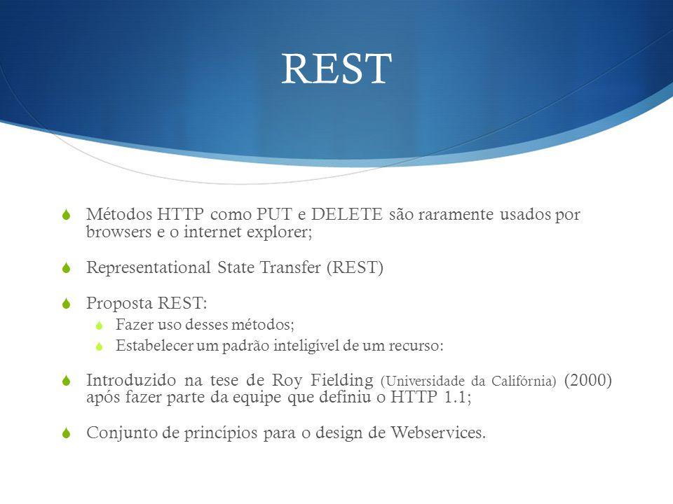 REST  Métodos HTTP como PUT e DELETE são raramente usados por browsers e o internet explorer;  Representational State Transfer (REST)  Proposta RES