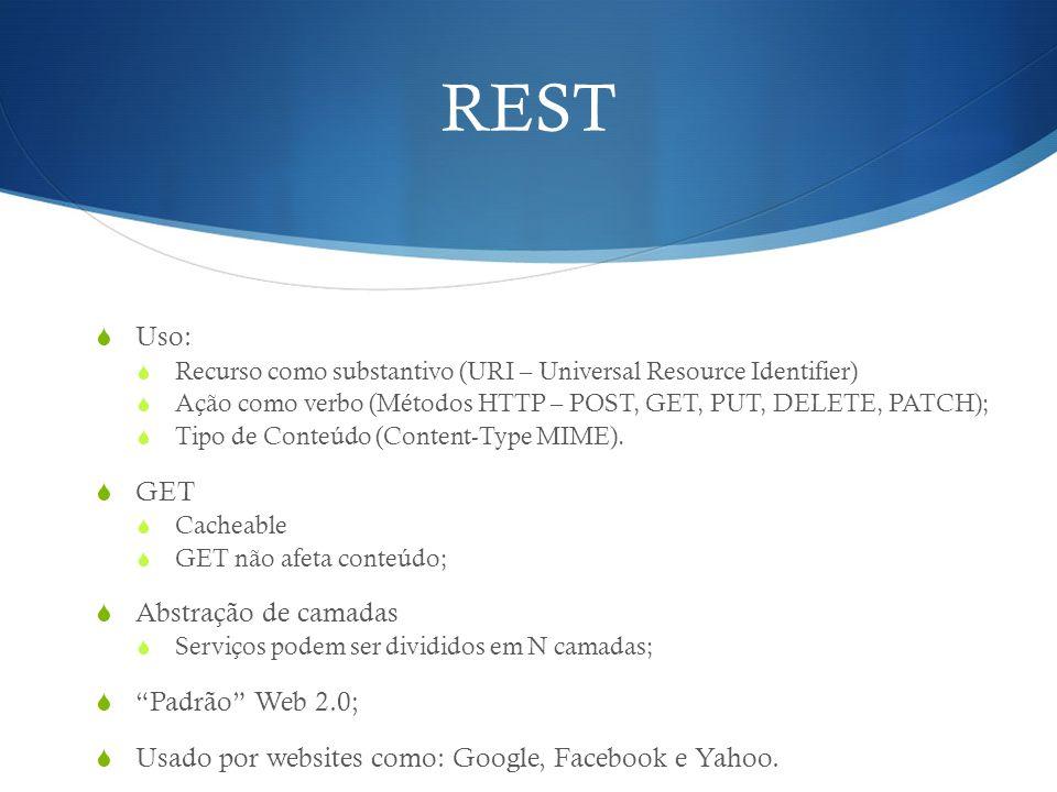 REST  Uso:  Recurso como substantivo (URI – Universal Resource Identifier)  Ação como verbo (Métodos HTTP – POST, GET, PUT, DELETE, PATCH);  Tipo