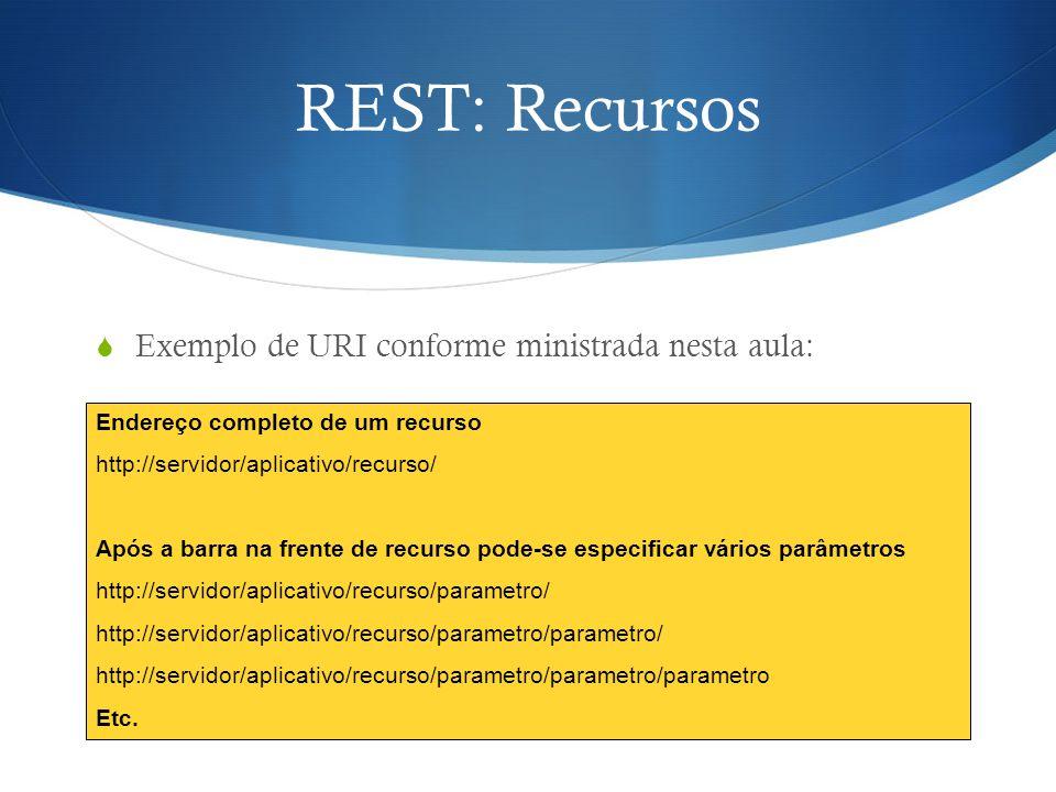 REST: Recursos  Exemplo de URI conforme ministrada nesta aula: Endereço completo de um recurso http://servidor/aplicativo/recurso/ Após a barra na fr