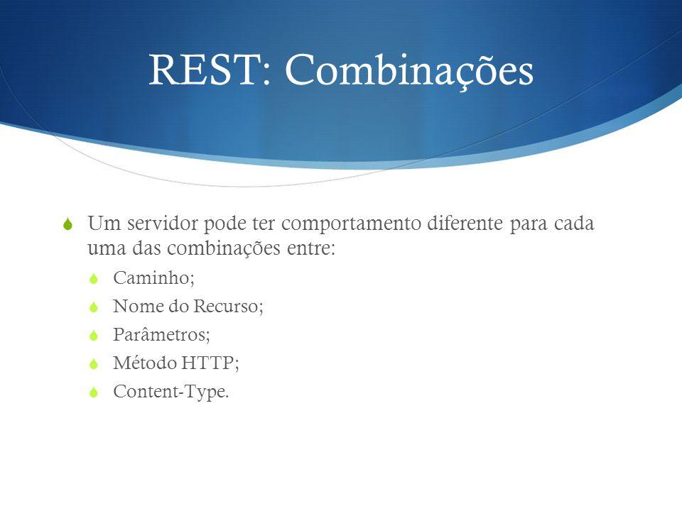 REST: Combinações  Um servidor pode ter comportamento diferente para cada uma das combinações entre:  Caminho;  Nome do Recurso;  Parâmetros;  Mé
