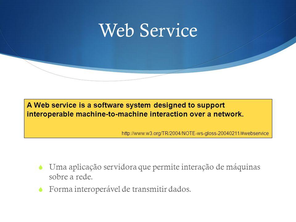 Web Service  Uma aplicação servidora que permite interação de máquinas sobre a rede.  Forma interoperável de transmitir dados. A Web service is a so