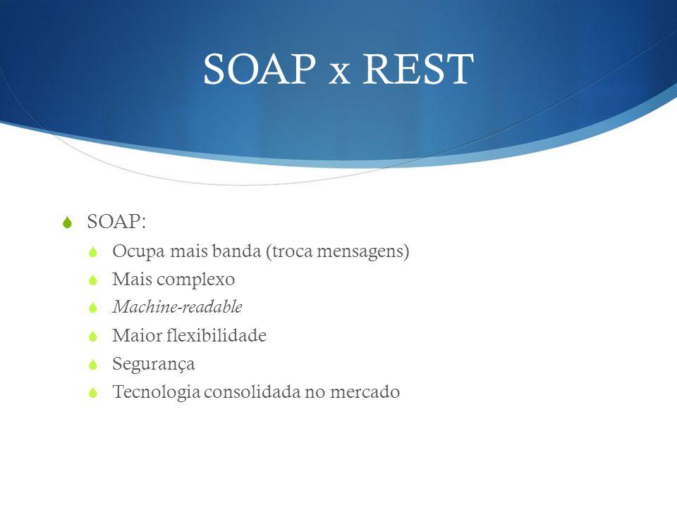 SOAP x REST  SOAP:  Ocupa mais banda (troca mensagens)  Mais complexo  Machine-readable  Maior flexibilidade  Segurança  Tecnologia consolidada