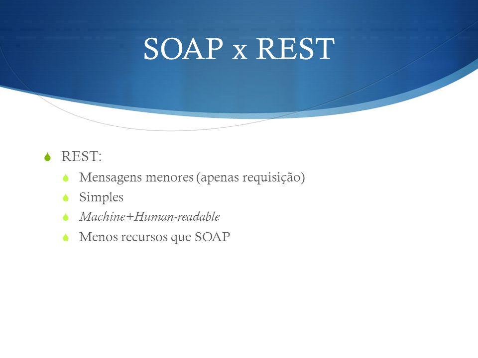SOAP x REST  REST:  Mensagens menores (apenas requisição)  Simples  Machine+Human-readable  Menos recursos que SOAP
