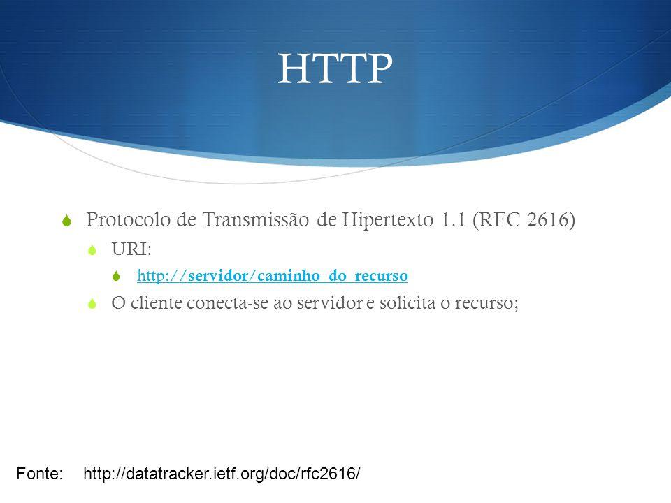 HTTP  Protocolo de Transmissão de Hipertexto 1.1 (RFC 2616)  GET:  Permite a um cliente (ex: browser) requisitar uma informação: Fonte:http://datatracker.ietf.org/doc/rfc2616/ GET /caminho/recurso/instancia HTTP/1.1 From: usuario@endereco User-Agent: Navegador Content-Type: text/html HTTP/1.1 200 OK Date: Wed, 4 Jun 2013 23:59:59 GMT Content-Type: text/html; charset=utf-8 Content-Length: 1354 Cliente Servidor