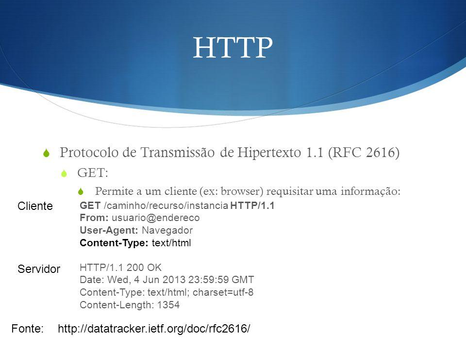 HTTP  Protocolo de Transmissão de Hipertexto 1.1 (RFC 2616)  GET:  Permite a um cliente (ex: browser) requisitar uma informação: Fonte:http://datat