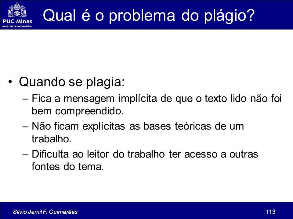 Silvio Jamil F. Guimarães113 Qual é o problema do plágio? Quando se plagia: –Fica a mensagem implícita de que o texto lido não foi bem compreendido. –