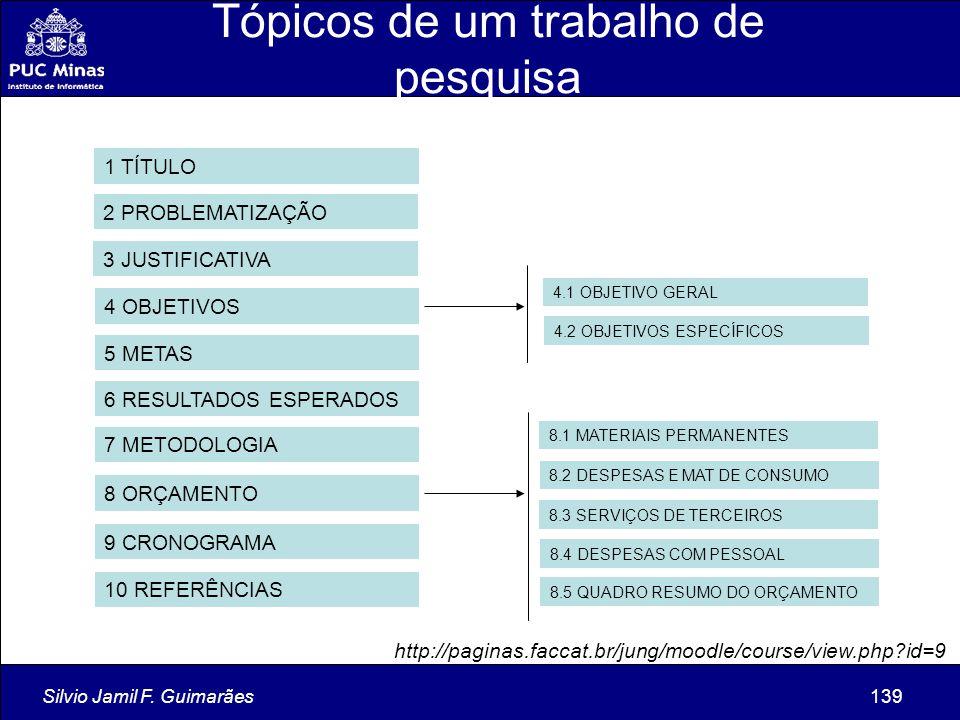 Silvio Jamil F. Guimarães139 Tópicos de um trabalho de pesquisa 1 TÍTULO 2 PROBLEMATIZAÇÃO 3 JUSTIFICATIVA 4 OBJETIVOS 5 METAS 6 RESULTADOS ESPERADOS