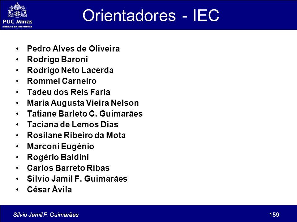 Silvio Jamil F. Guimarães159 Orientadores - IEC Pedro Alves de Oliveira Rodrigo Baroni Rodrigo Neto Lacerda Rommel Carneiro Tadeu dos Reis Faria Maria