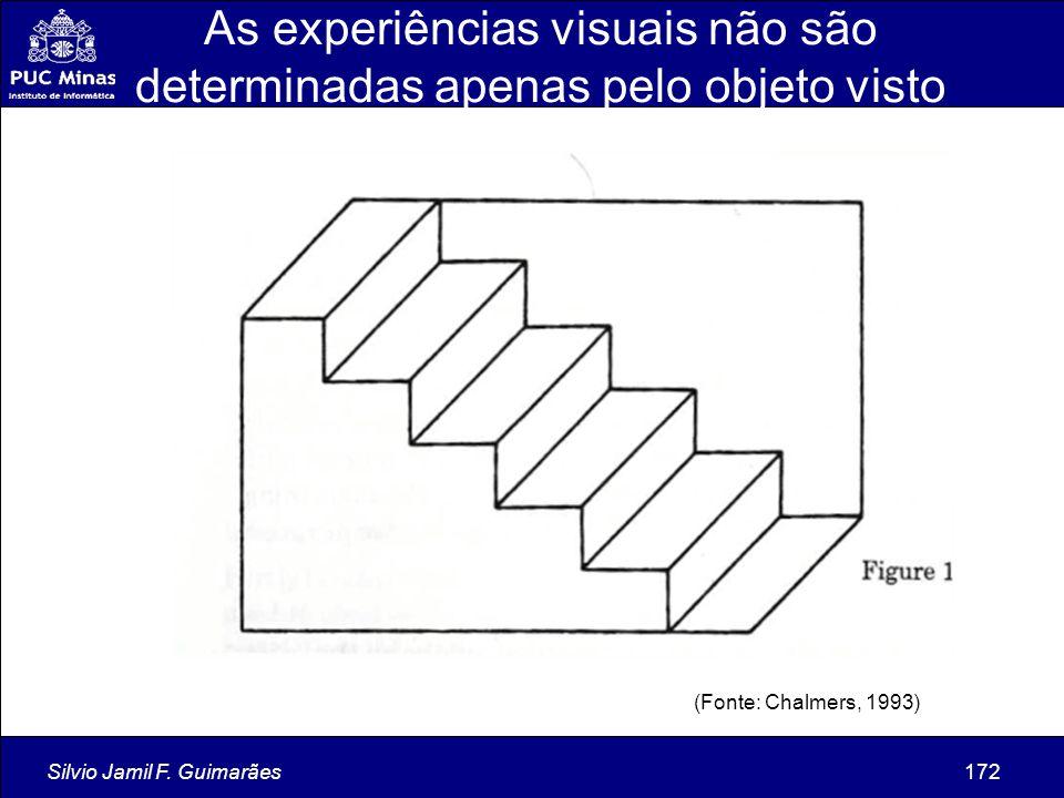 Silvio Jamil F. Guimarães172 As experiências visuais não são determinadas apenas pelo objeto visto (Fonte: Chalmers, 1993)