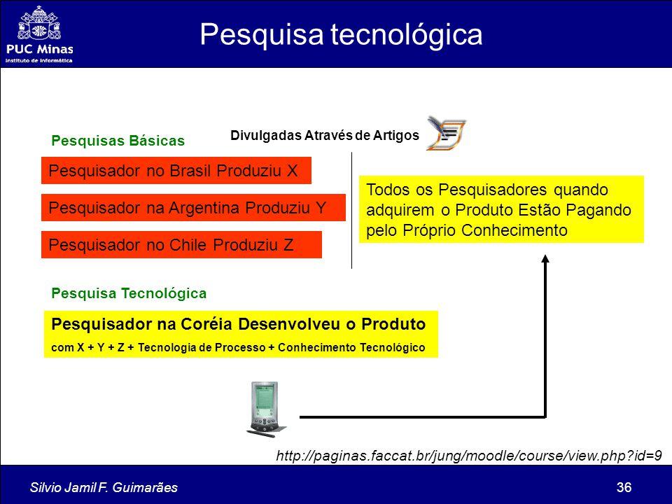 Silvio Jamil F. Guimarães36 Pesquisador no Brasil Produziu X Pesquisador na Argentina Produziu Y Pesquisador no Chile Produziu Z Pesquisador na Coréia