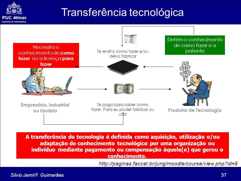 Silvio Jamil F. Guimarães37 Produtor de Tecnologia Detém o conhecimento de como fazer e a patente Empresário, Industrial ou Usuário Necessita o conhec
