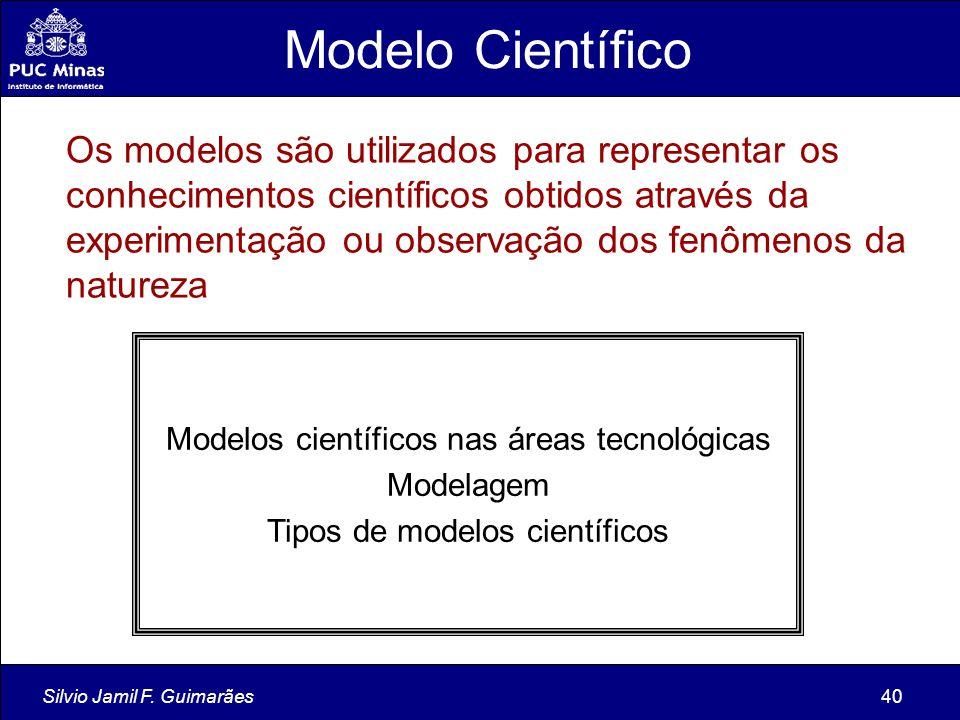 Silvio Jamil F. Guimarães40 Modelo Científico Os modelos são utilizados para representar os conhecimentos científicos obtidos através da experimentaçã