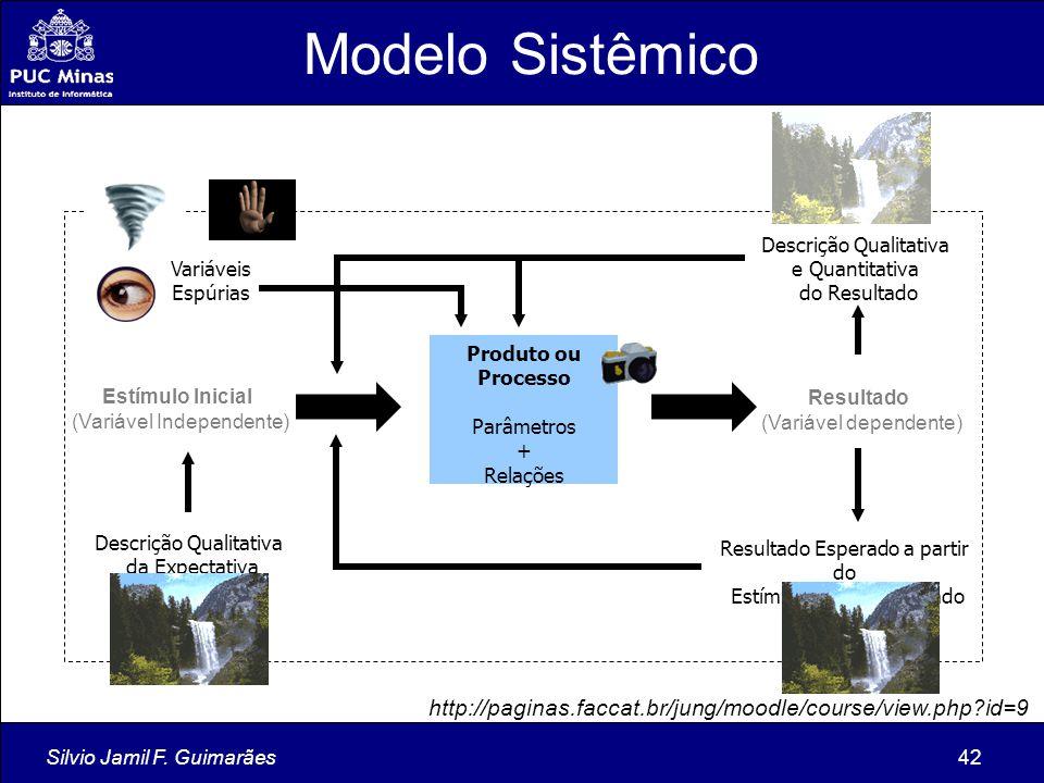 Silvio Jamil F. Guimarães42 Produto ou Processo Parâmetros + Relações Estímulo Inicial (Variável Independente) Resultado (Variável dependente) Descriç