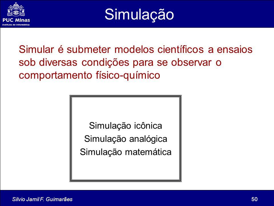 Silvio Jamil F. Guimarães50 Simulação Simular é submeter modelos científicos a ensaios sob diversas condições para se observar o comportamento físico-