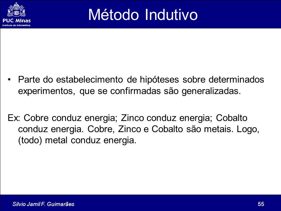 Silvio Jamil F. Guimarães55 Método Indutivo Parte do estabelecimento de hipóteses sobre determinados experimentos, que se confirmadas são generalizada