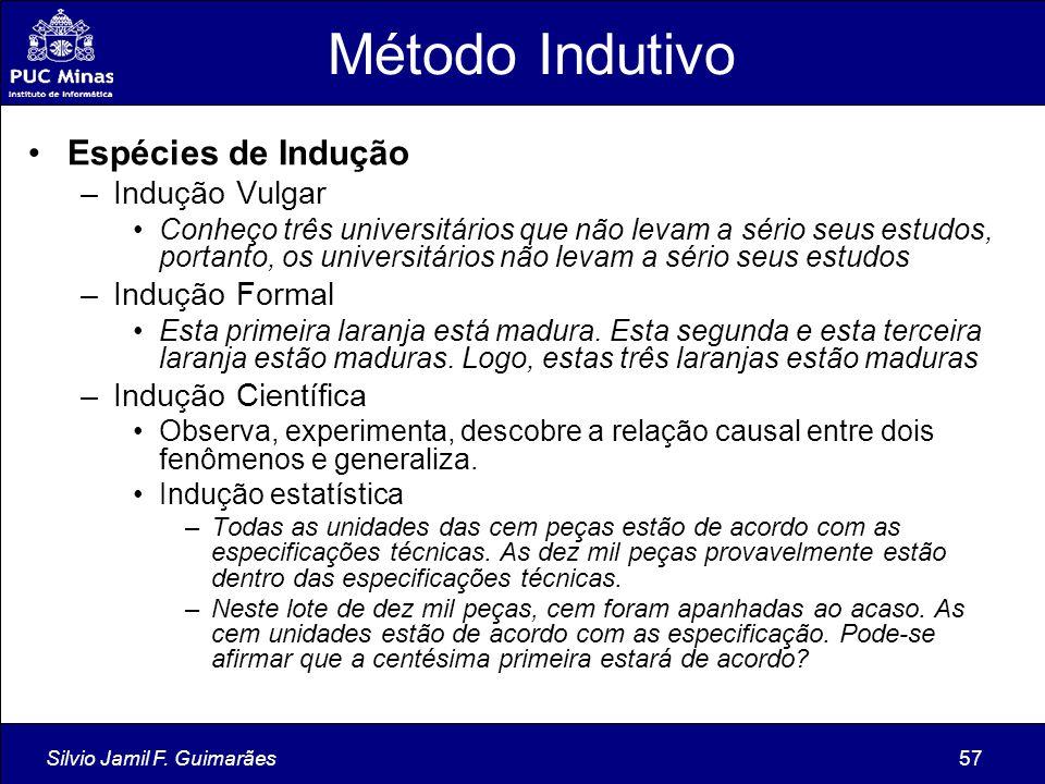 Silvio Jamil F. Guimarães57 Método Indutivo Espécies de Indução –Indução Vulgar Conheço três universitários que não levam a sério seus estudos, portan