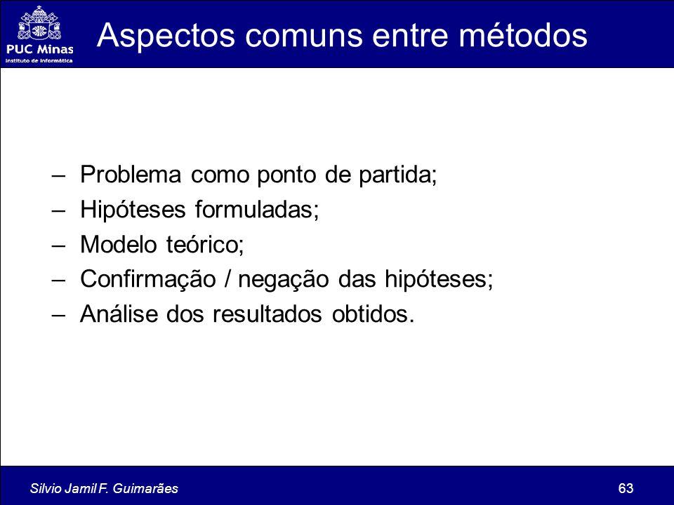 Silvio Jamil F. Guimarães63 Aspectos comuns entre métodos – Problema como ponto de partida; – Hipóteses formuladas; – Modelo teórico; – Confirmação /