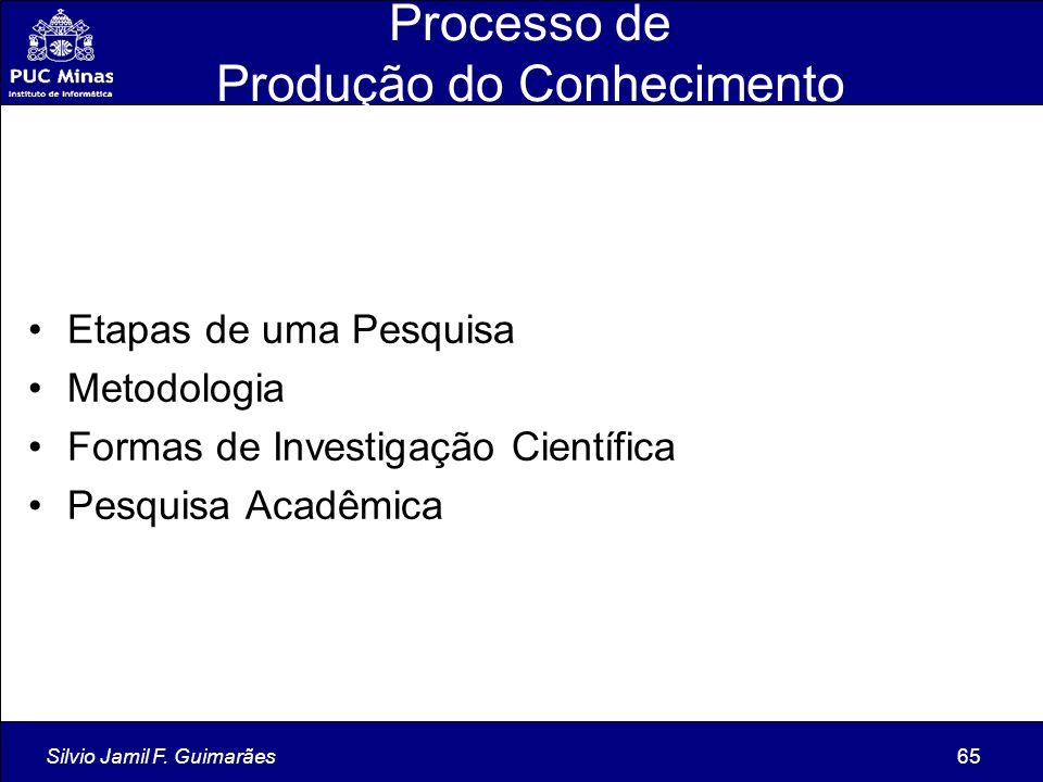 Silvio Jamil F. Guimarães65 Processo de Produção do Conhecimento Etapas de uma Pesquisa Metodologia Formas de Investigação Científica Pesquisa Acadêmi