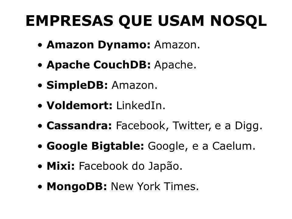 Amazon Dynamo: Amazon. Apache CouchDB: Apache. SimpleDB: Amazon. Voldemort: LinkedIn. Cassandra: Facebook, Twitter, e a Digg. Google Bigtable: Google,