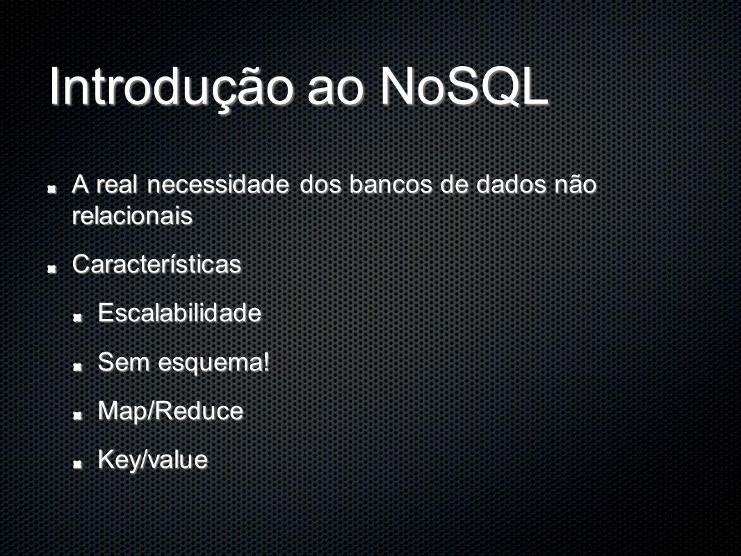 Introdução ao NoSQL A real necessidade dos bancos de dados não relacionais CaracterísticasEscalabilidade Sem esquema.