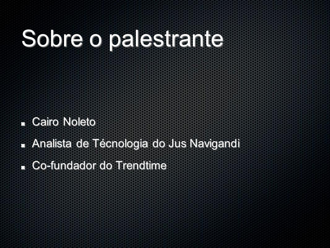 Sobre o palestrante Cairo Noleto Analista de Técnologia do Jus Navigandi Co-fundador do Trendtime