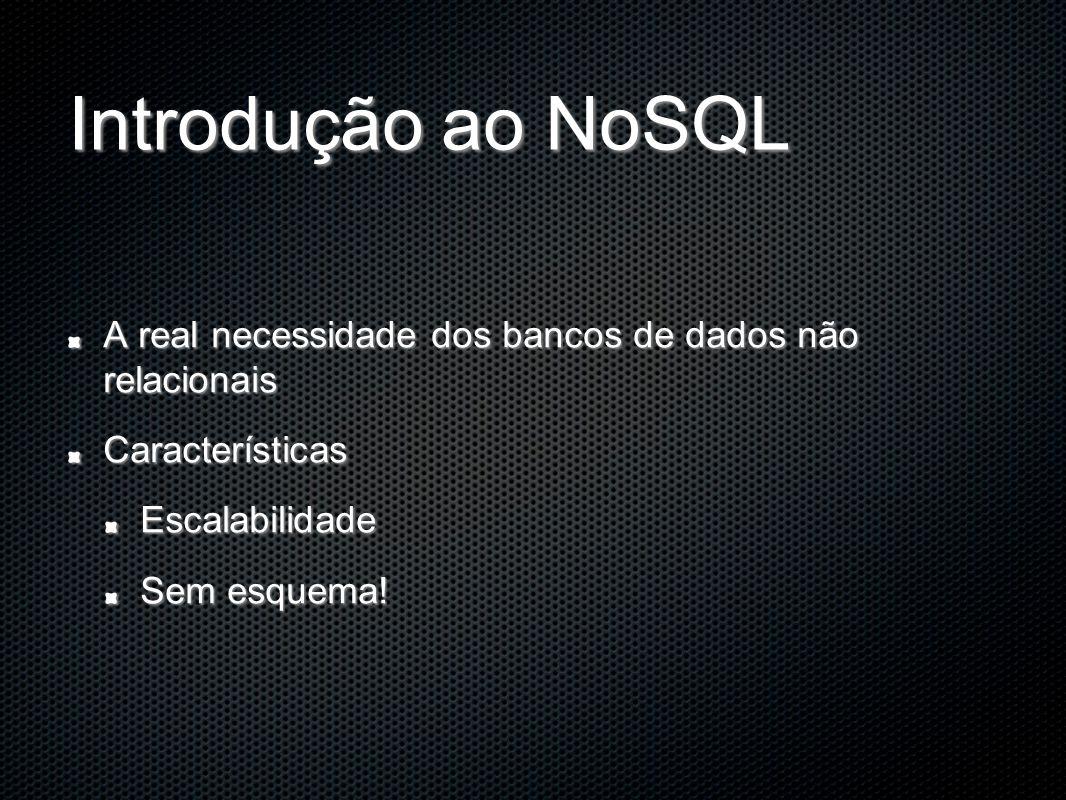 Introdução ao NoSQL A real necessidade dos bancos de dados não relacionais CaracterísticasEscalabilidade Sem esquema!