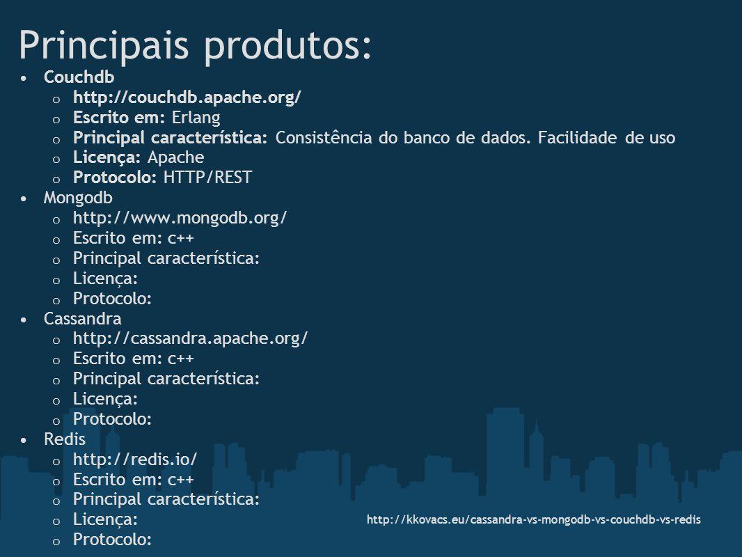 Principais produtos: Couchdb o http://couchdb.apache.org/ o Escrito em: Erlang o Principal característica: Consistência do banco de dados. Facilidade