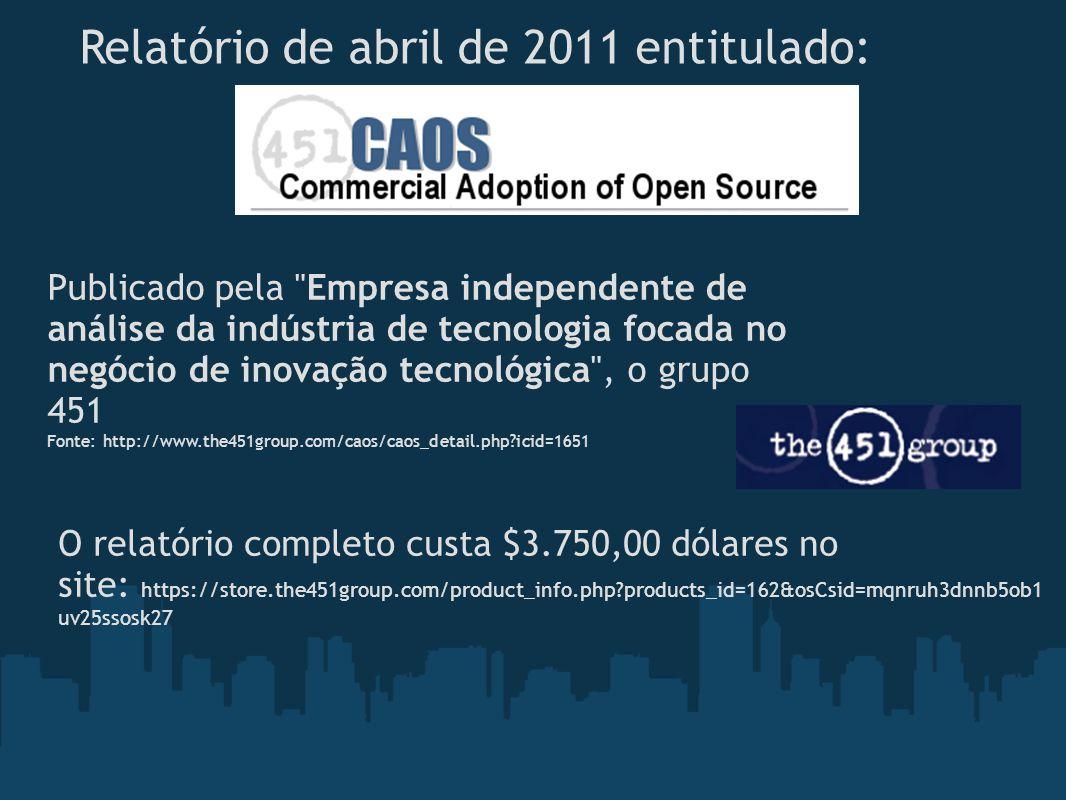 Relatório de abril de 2011 entitulado: Publicado pela