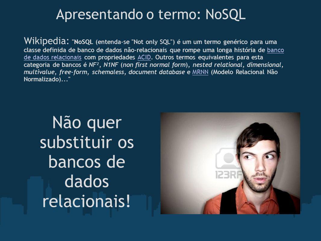 Apresentando o termo: NoSQL Wikipedia: