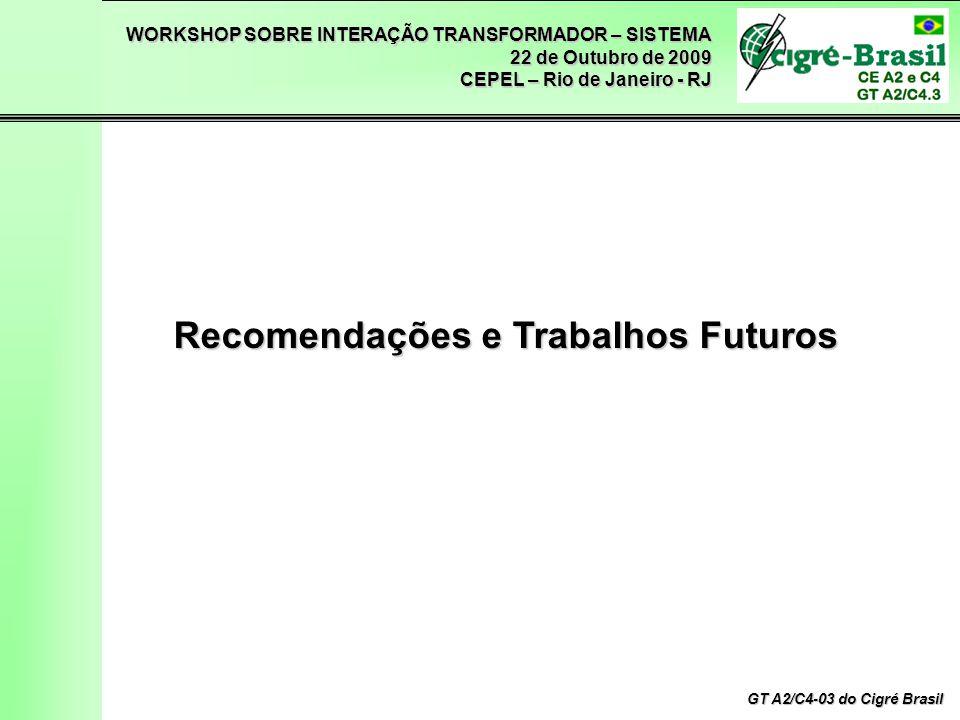 WORKSHOP SOBRE INTERAÇÃO TRANSFORMADOR – SISTEMA 22 de Outubro de 2009 CEPEL – Rio de Janeiro - RJ GT A2/C4-03 do Cigré Brasil Recomendações e Trabalhos Futuros