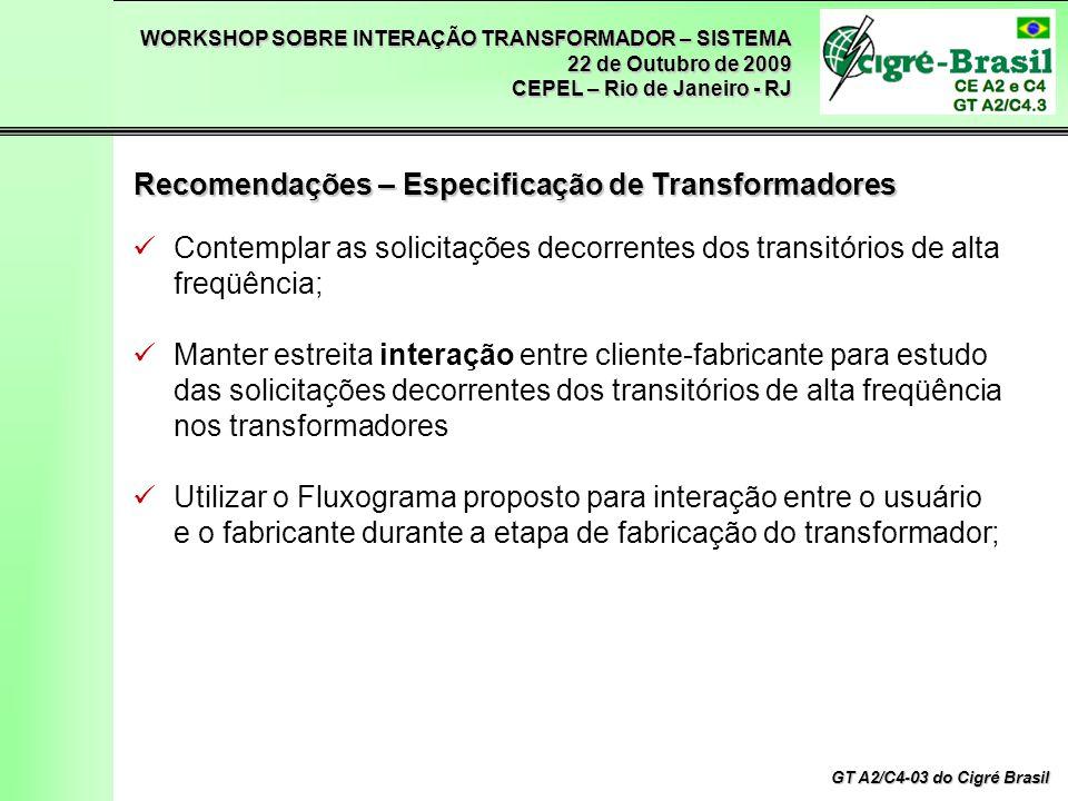 WORKSHOP SOBRE INTERAÇÃO TRANSFORMADOR – SISTEMA 22 de Outubro de 2009 CEPEL – Rio de Janeiro - RJ GT A2/C4-03 do Cigré Brasil Contemplar as solicitaç