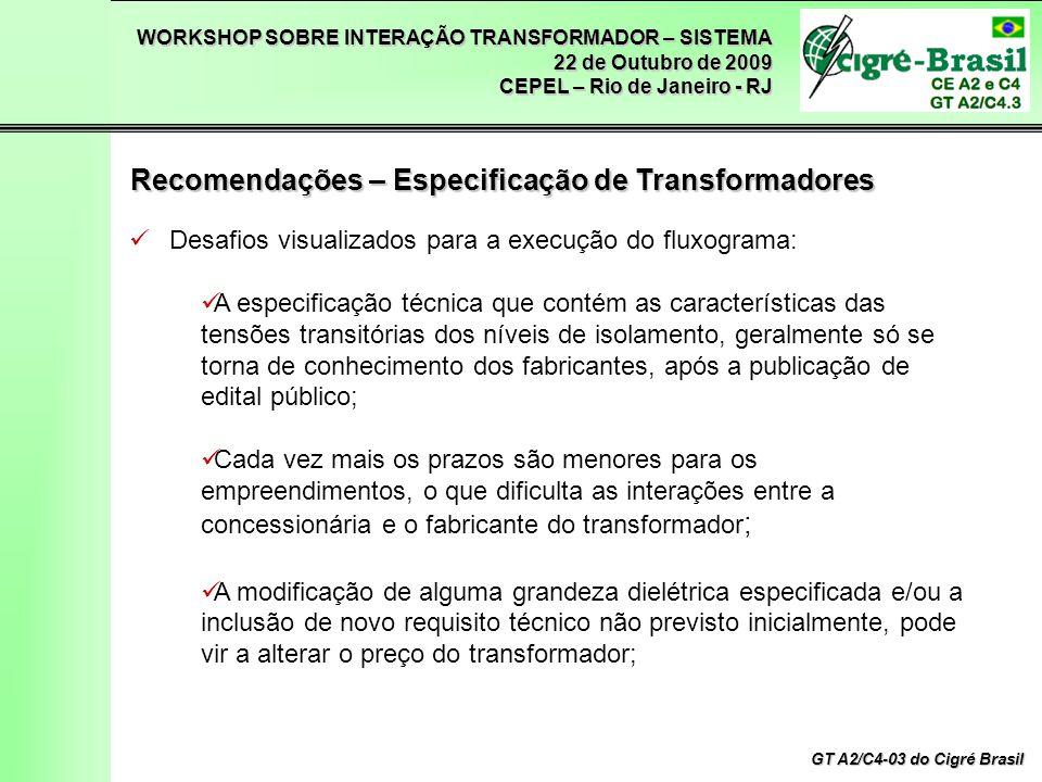 WORKSHOP SOBRE INTERAÇÃO TRANSFORMADOR – SISTEMA 22 de Outubro de 2009 CEPEL – Rio de Janeiro - RJ GT A2/C4-03 do Cigré Brasil Desafios visualizados p