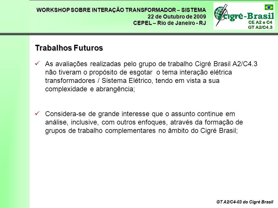 WORKSHOP SOBRE INTERAÇÃO TRANSFORMADOR – SISTEMA 22 de Outubro de 2009 CEPEL – Rio de Janeiro - RJ GT A2/C4-03 do Cigré Brasil As avaliações realizada