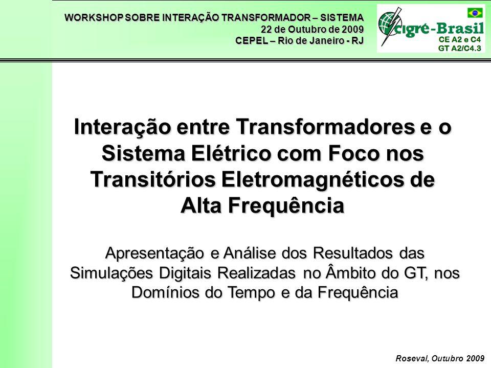 WORKSHOP SOBRE INTERAÇÃO TRANSFORMADOR – SISTEMA 22 de Outubro de 2009 CEPEL – Rio de Janeiro - RJ Roseval, Outubro 2009 Análise no Domínio da Frequência Energização de Transformador 16/16/500kV – 555MVA em SE 500kV DJM 70kHz FSDF = 0,71 160kHz FSDF = 0,54 Fator de Severidade no Domínio da Frequência Envoltória Tensão transitória FSDF < 1 → Solicitações cobertas pelas FO padronizadas 2,04pu