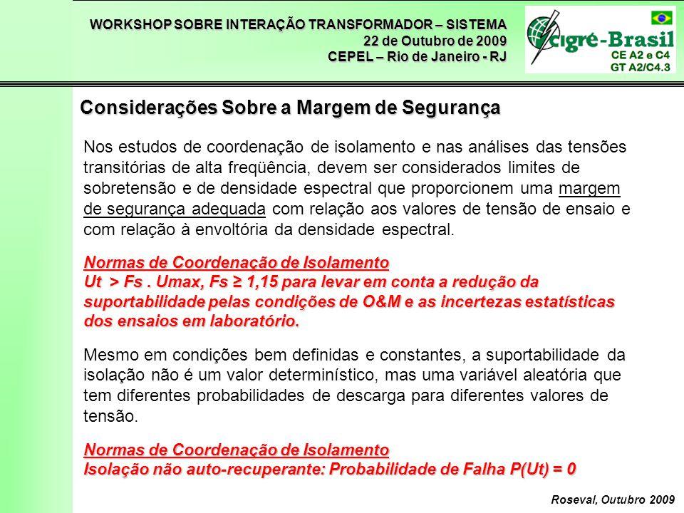 WORKSHOP SOBRE INTERAÇÃO TRANSFORMADOR – SISTEMA 22 de Outubro de 2009 CEPEL – Rio de Janeiro - RJ Roseval, Outubro 2009 Considerações Sobre a Margem