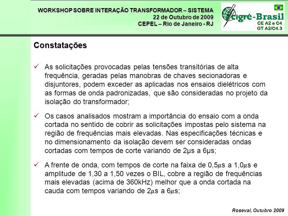 WORKSHOP SOBRE INTERAÇÃO TRANSFORMADOR – SISTEMA 22 de Outubro de 2009 CEPEL – Rio de Janeiro - RJ Roseval, Outubro 2009 As solicitações provocadas pe