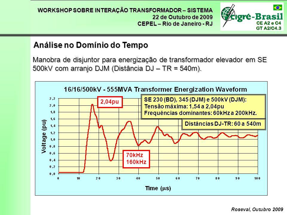 WORKSHOP SOBRE INTERAÇÃO TRANSFORMADOR – SISTEMA 22 de Outubro de 2009 CEPEL – Rio de Janeiro - RJ Roseval, Outubro 2009 Análise no Domínio do Tempo Manobra de abertura de chave secionadora em SE 500kV com arranjo DJM, com reacendimento.
