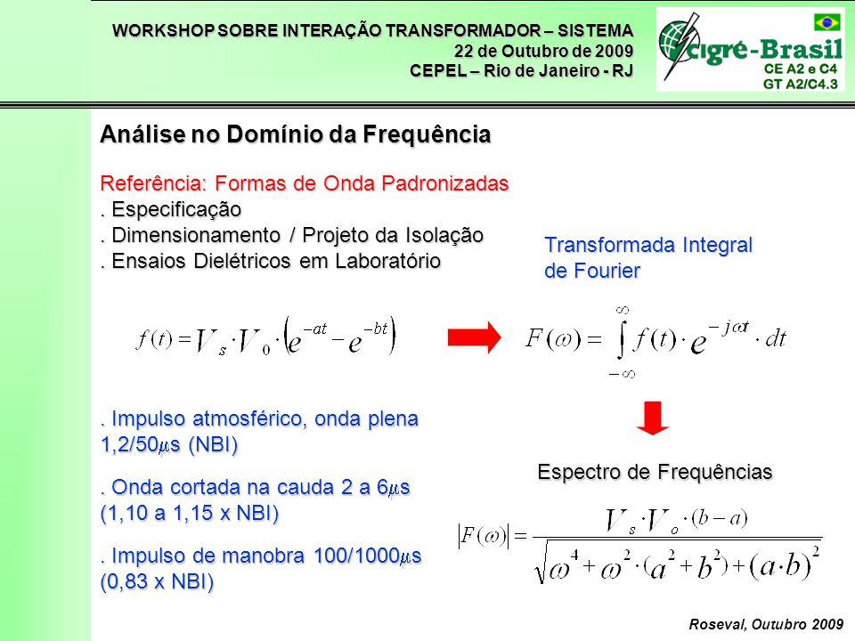 WORKSHOP SOBRE INTERAÇÃO TRANSFORMADOR – SISTEMA 22 de Outubro de 2009 CEPEL – Rio de Janeiro - RJ Roseval, Outubro 2009 Considerações Sobre a Margem de Segurança Distribuição de Weibull m = 4 S/U 50 = 15% P(Ut) = 0,1% Margem = (U/Ut)/Fs Para 1000 aplicações, = 0,85/1,15 = 0,70 Pn = 0,1% Pn = 1% Pn = 5%