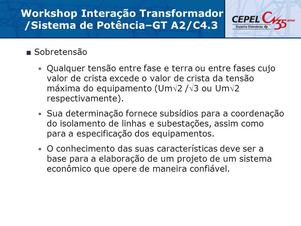 Workshop Interação Transformador /Sistema de Potência–GT A2/C4.3  Sobretensão Qualquer tensão entre fase e terra ou entre fases cujo valor de crista