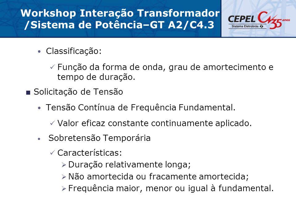 Workshop Interação Transformador /Sistema de Potência–GT A2/C4.3 Classificação: Função da forma de onda, grau de amortecimento e tempo de duração.  S