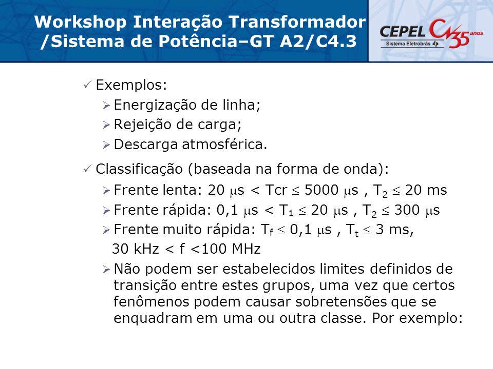 Workshop Interação Transformador /Sistema de Potência–GT A2/C4.3 Exemplos:  Energização de linha;  Rejeição de carga;  Descarga atmosférica. Classi