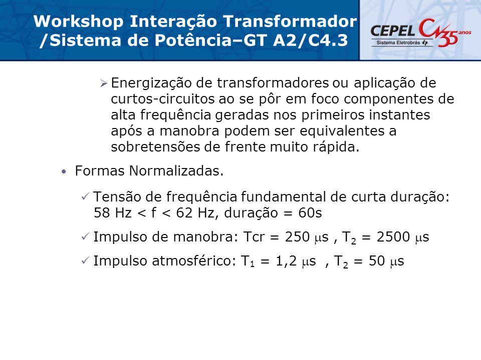 Workshop Interação Transformador /Sistema de Potência–GT A2/C4.3  Energização de transformadores ou aplicação de curtos-circuitos ao se pôr em foco c