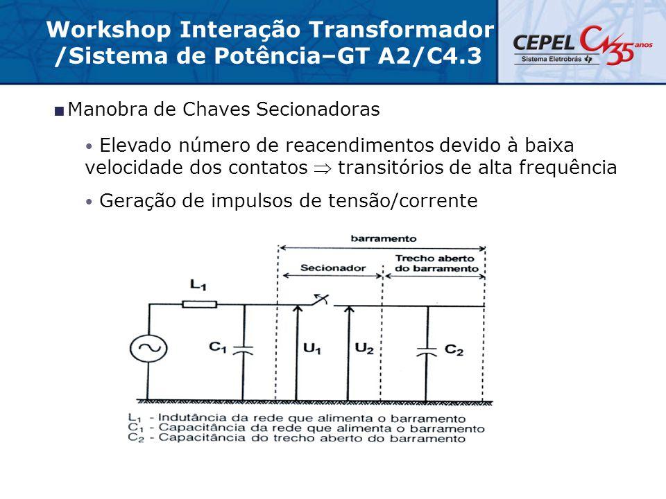  Manobra de Chaves Secionadoras Elevado número de reacendimentos devido à baixa velocidade dos contatos  transitórios de alta frequência Geração de