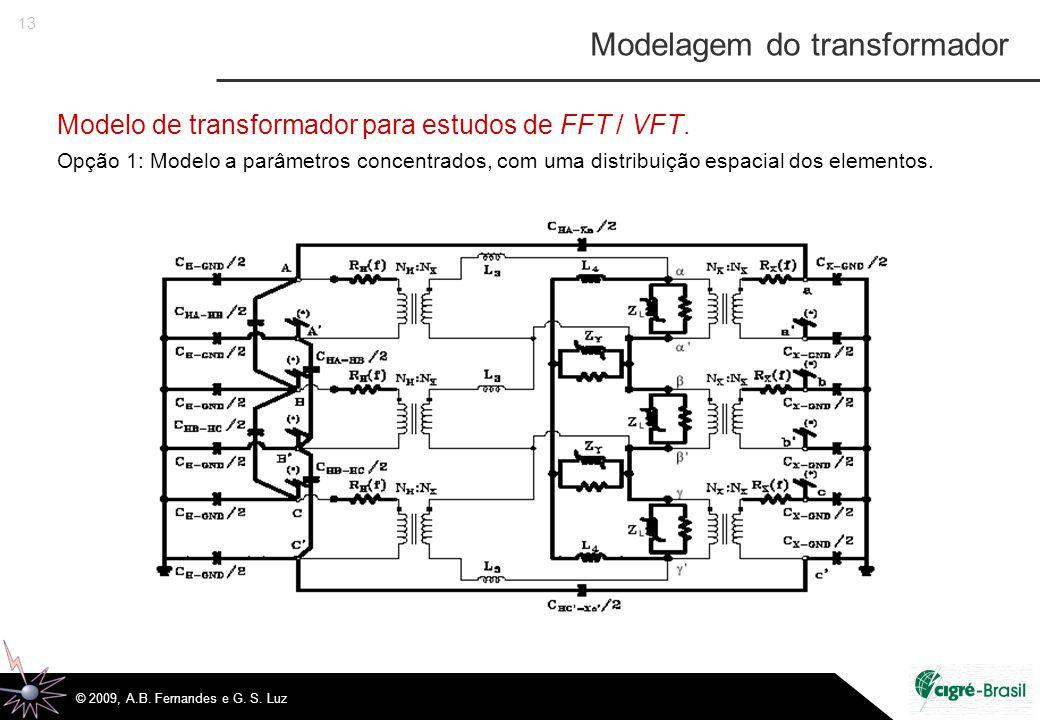 13 © 2009, A.B. Fernandes e G. S. Luz Modelo de transformador para estudos de FFT / VFT.