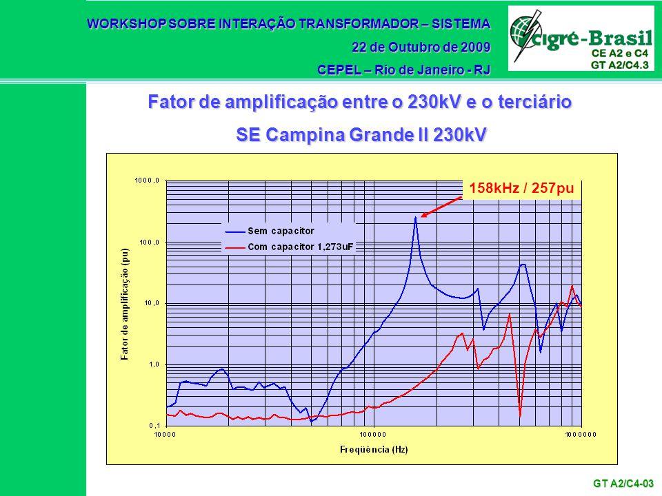 WORKSHOP SOBRE INTERAÇÃO TRANSFORMADOR – SISTEMA 22 de Outubro de 2009 CEPEL – Rio de Janeiro - RJ GT A2/C4-03 158kHz / 257pu Fator de amplificação en