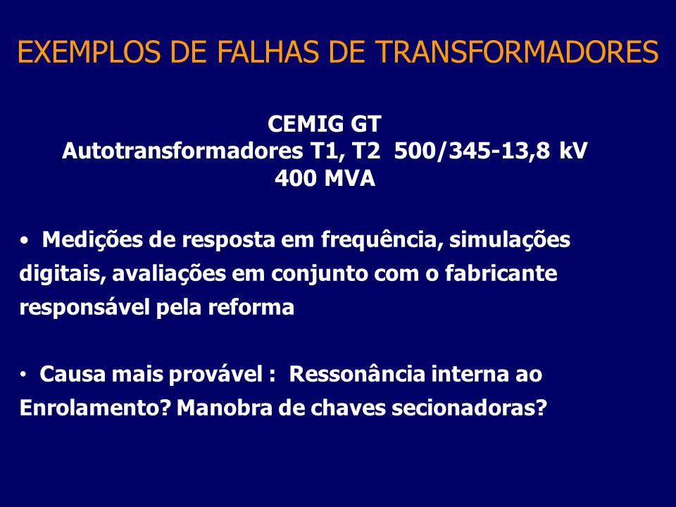 CEMIG GT Autotransformadores T1, T2 500/345-13,8 kV 400 MVA Medições de resposta em frequência, simulações digitais, avaliações em conjunto com o fabr